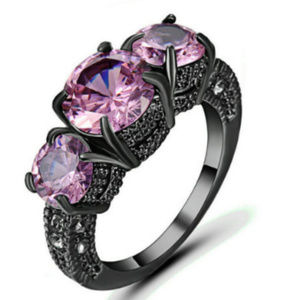 Jewelry - Pink Sapphire Size 9 Ring 10KT Black Gold fill GF